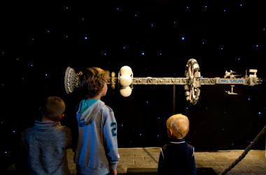 Ten-foot-long LEGO® Professional Artists interpretation of Carl Sagan interstellar spaceship.