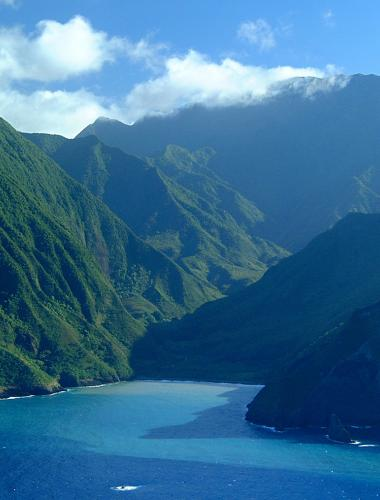 The beautiful sea cliffs and coastline of Molokai, Hawaii's fifth largest island
