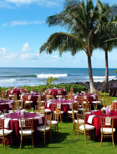 Outdoor wedding venue with beach view in Kauai