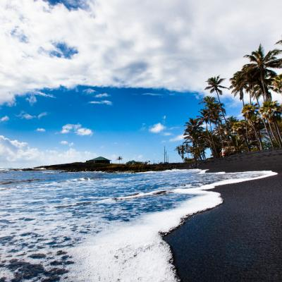 Punaluu Black Sand Beach in Kau on the island of Hawaii