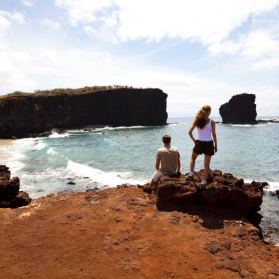 Looking out at Puu Pehe (Sweetheart Rock) in South Lanai