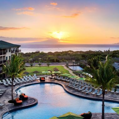 Exterior Sunset Ocean Views - Unwind in our serene outdoor areas including a pool and spa, fire pit, barbecue area, putting green while enjoying spectacular ocean views.