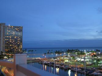 Ilikai Marina Condos Night View